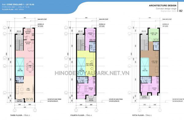 Thiết kế Liền kề, phân khu Anh 1, LK 19, Hinode Royal Park